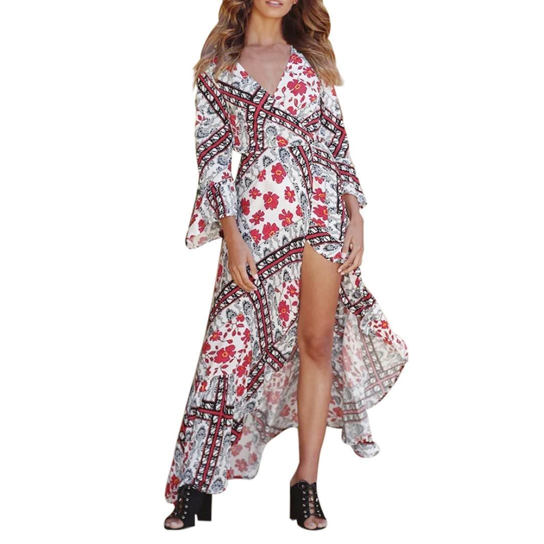Vestidos Mujer Verano 2018,Bohemio de las mujeres de estampado floral Honda vestido largo sin mangas de verano playa vestido LMMVP (L, Blanco): Amazon.es: ...