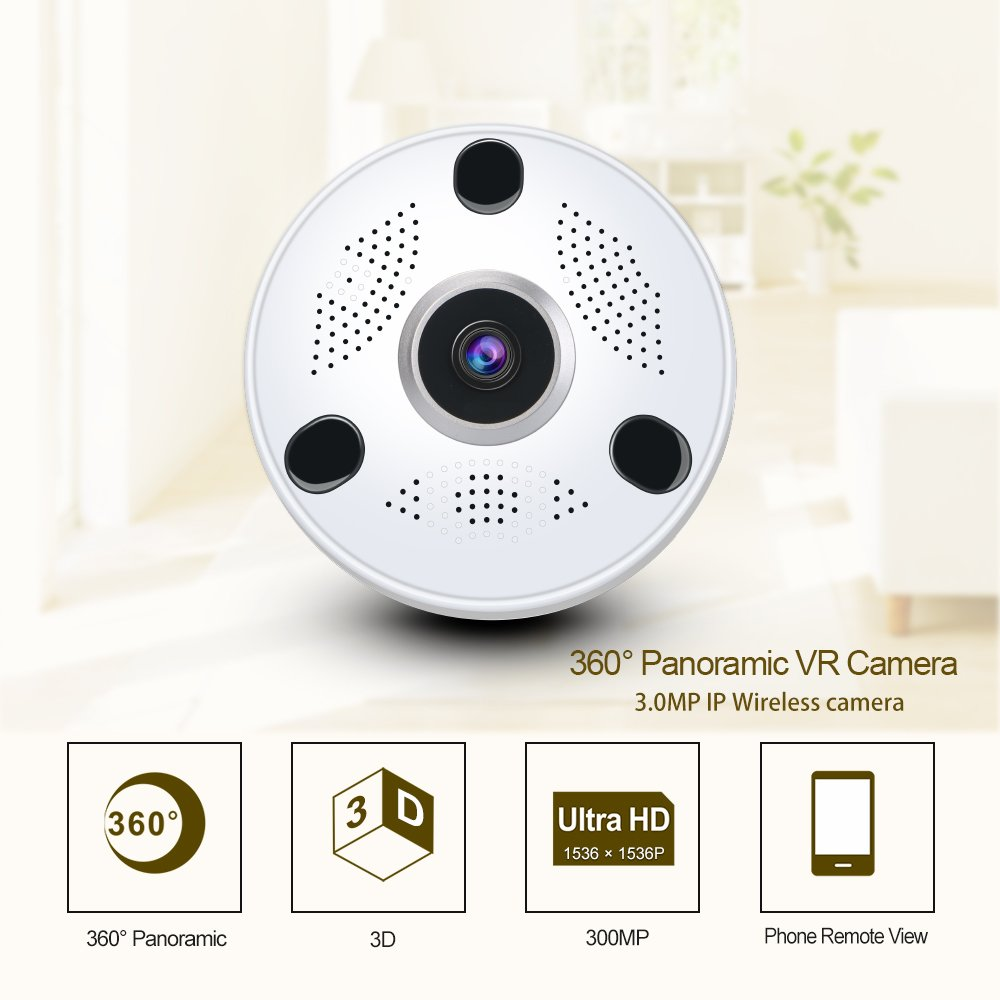 anni WiFi Security Camera 3.0MP Indoor Wireless Panoramic Camera, 360° Panoramic Fish Eye Lens, No Blind Spot, Two-Way Audio & Night Vision