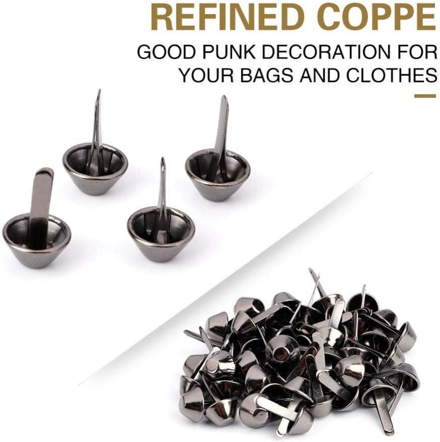 10mm-Black 50PCS Plate Bottom Stud Bag Feet Flat Metal Bag Feet Cone Studs Mushroom Spike Rivet Purse Feet Spike Nailheads Brad leathercraft Findings