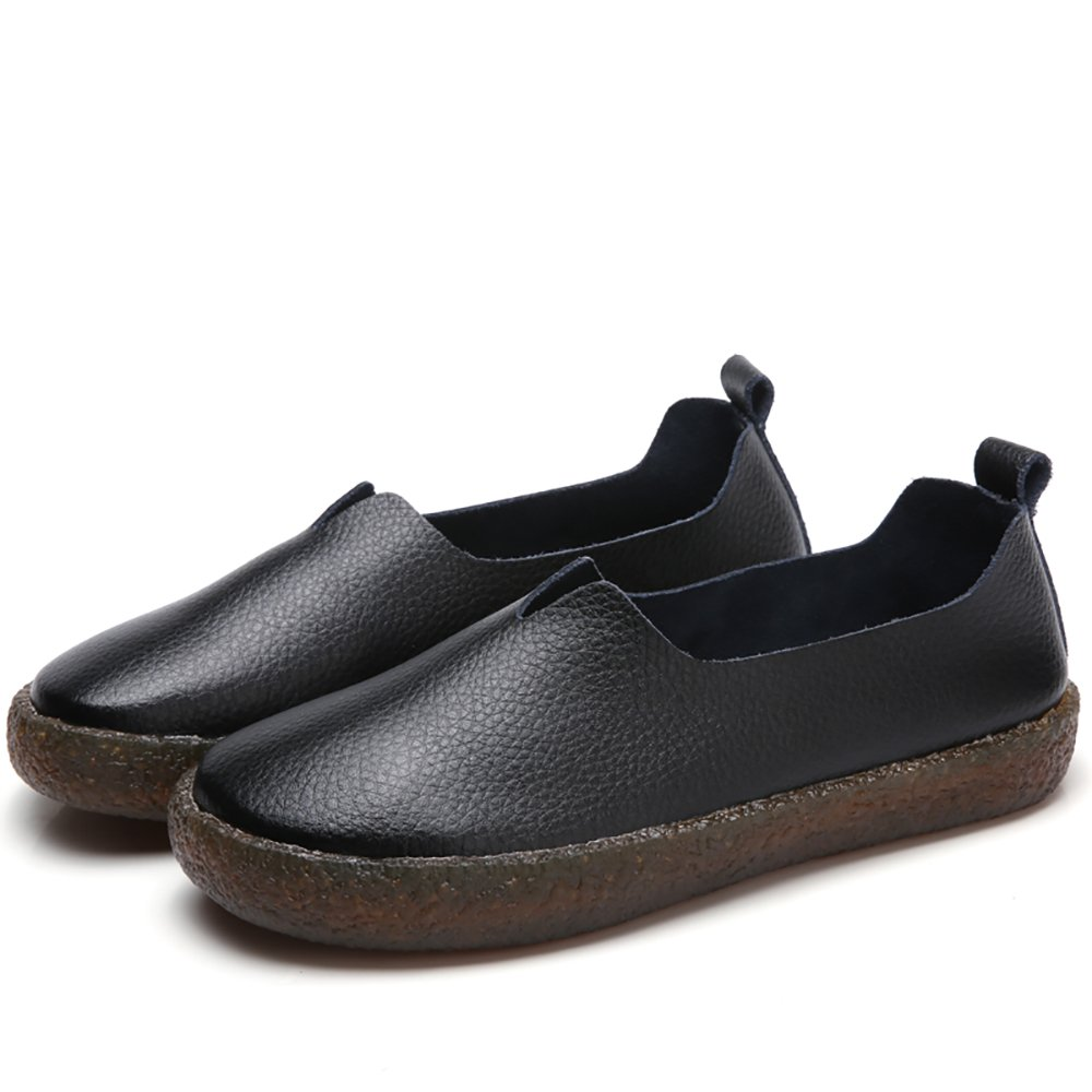 Amazon.com | Vivident Genuine Leather Women Soft Flats Casual Loafers Slip On Comfort Shoes | Loafers & Slip-Ons