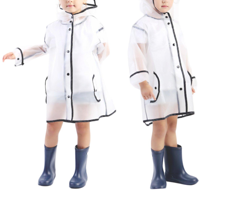 WIFORNT Kids Transparent Tassel Raincoat Hooded Poncho Outdoor Rain Jacket