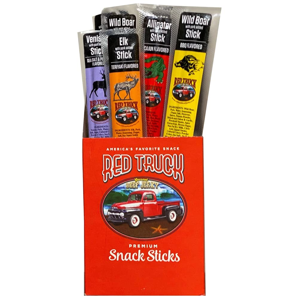 RED TRUCK BEEF JERKY Gourmet Meat Stick Packs (Game Combo Box, 12-Count)