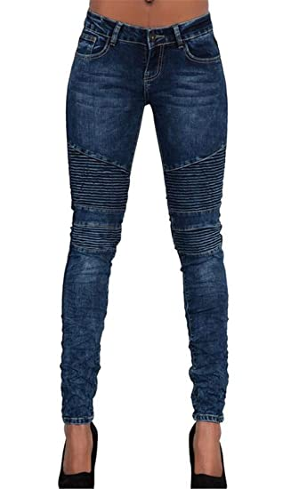 632636398e6 X-Future Women Fashion Long Length Slim Fit Ruched Stretch Denim Jeans Pants  at Amazon Women s Jeans store