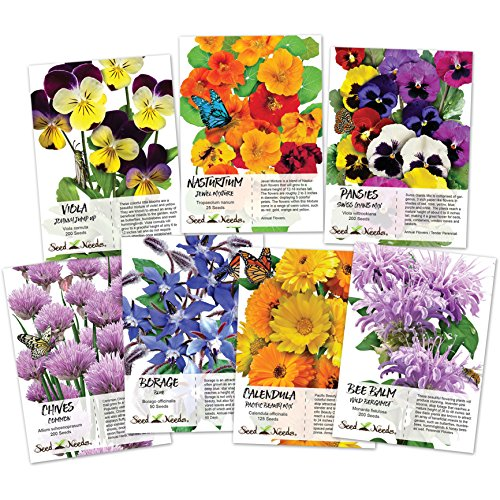- Collection of 7 Edible Wildflower Seed Packets (7 Individual Packets) Non-GMO Seeds by Seed Needs