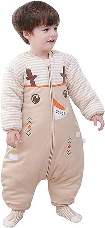 Eastery Saco De Dormir De Invierno para Bebé con Patas Y Estilo Simple Mangas Desmontables Pijama De Mameluco para Niños Algodón Saco De Dormir De Invierno para Bebé Ciervo De Algodón Orgánico: