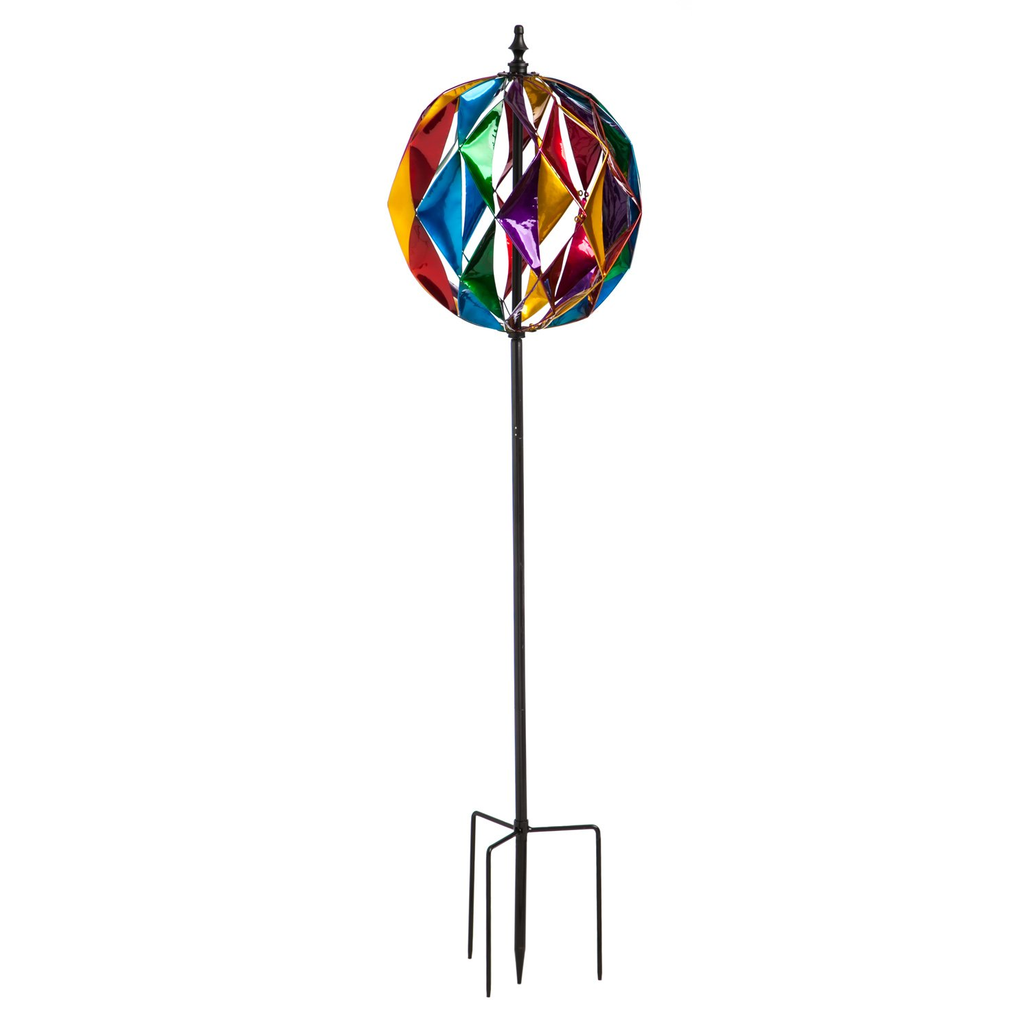 Evergreen 75-inch Colorful Ball Outdoor Safe Kinetic Wind Spinner Garden Stake
