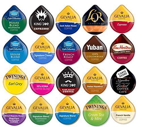 20 TASSIMO T-Disc Variety Sampler! 20 unique varieties! Tim Horton's, Twinings, Nabob, Gevalia ++