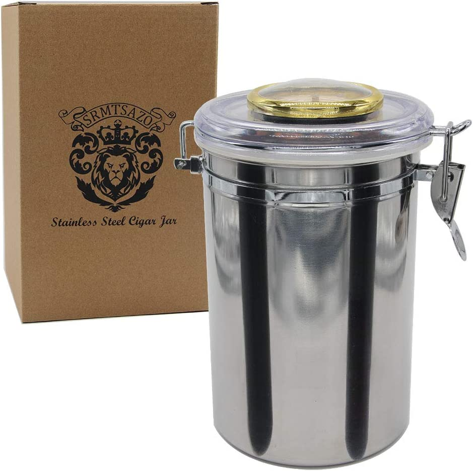 Humidifier And Dropper Seal And Constant Humidity Can Hold About 20 Cigars. Top Cover With Hygrometer Stainless Steel Cigar Jar Cigar Humidor Set