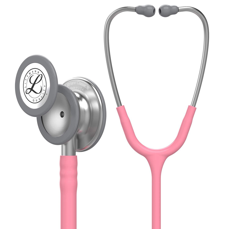 3M Littmann Classic III Monitoring Stethoscope, Pearl Pink Tube, 27 inch, 5633