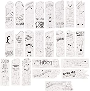 Juvale 24 Pack DIY Color Your Own Bookmarks Bulk, Cute Animal and Action Hero Theme for Kids and Students