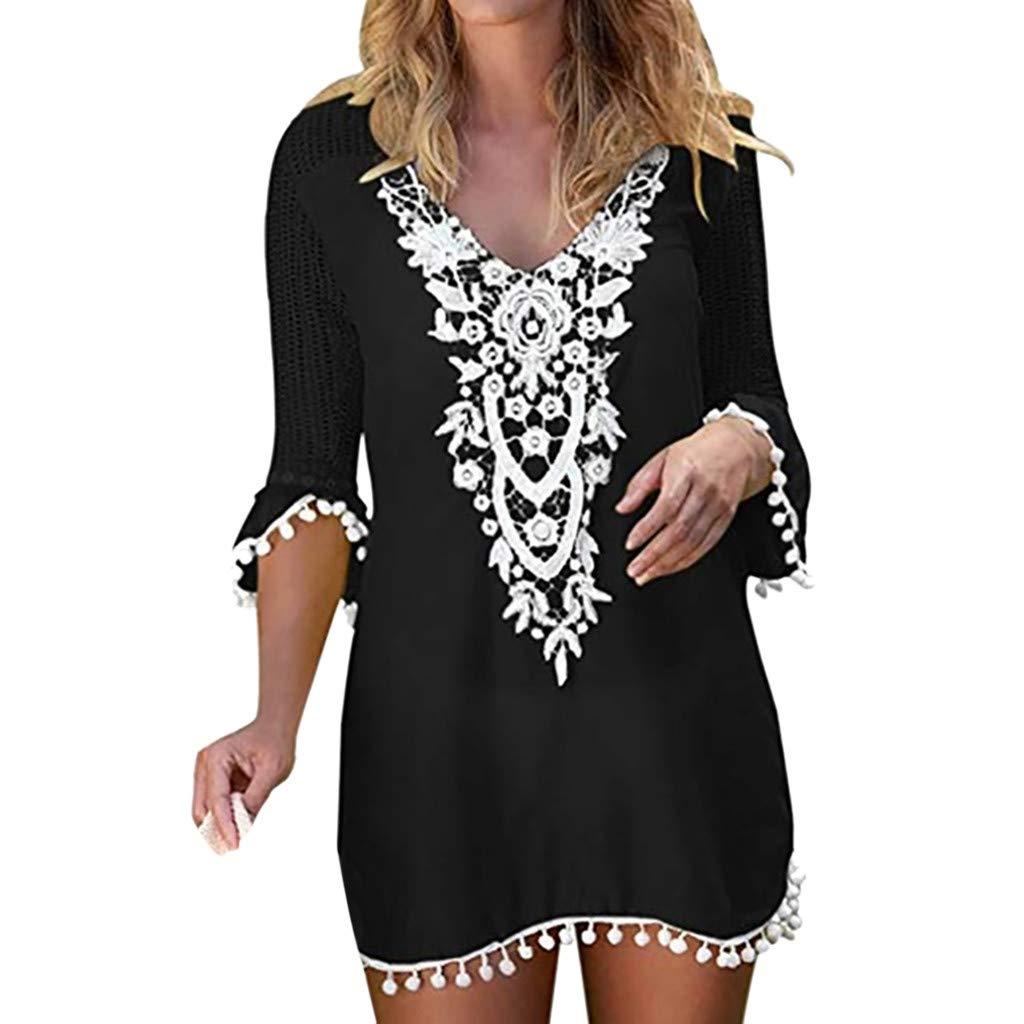 Forthery-Women Crochet Chiffon Tassel Swimsuit Bikini Pom Pom Trim Swimwear Beach Cover Up(Black,Small)