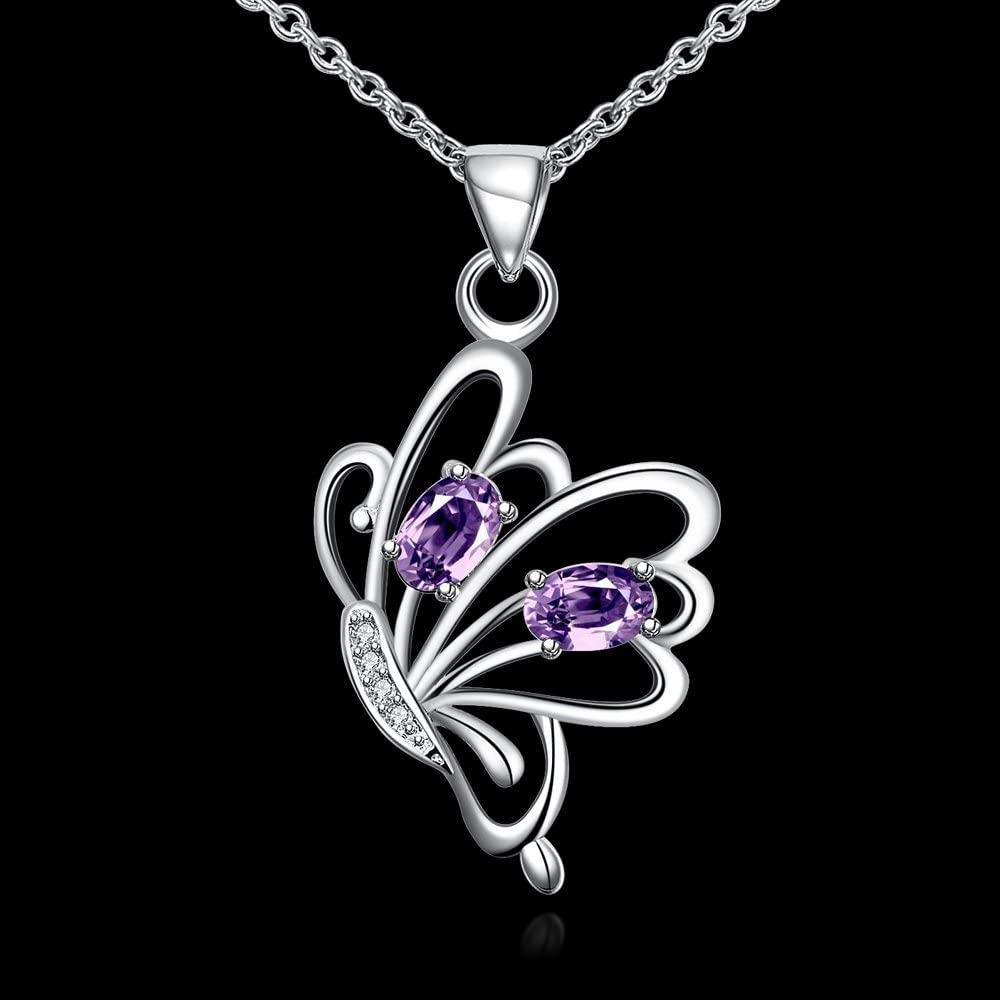 KopooaP Silver Necklaces Pendant Jewelry Birthday Gifts Presents Gemstone for Women Anniversary Zirconia Crystal