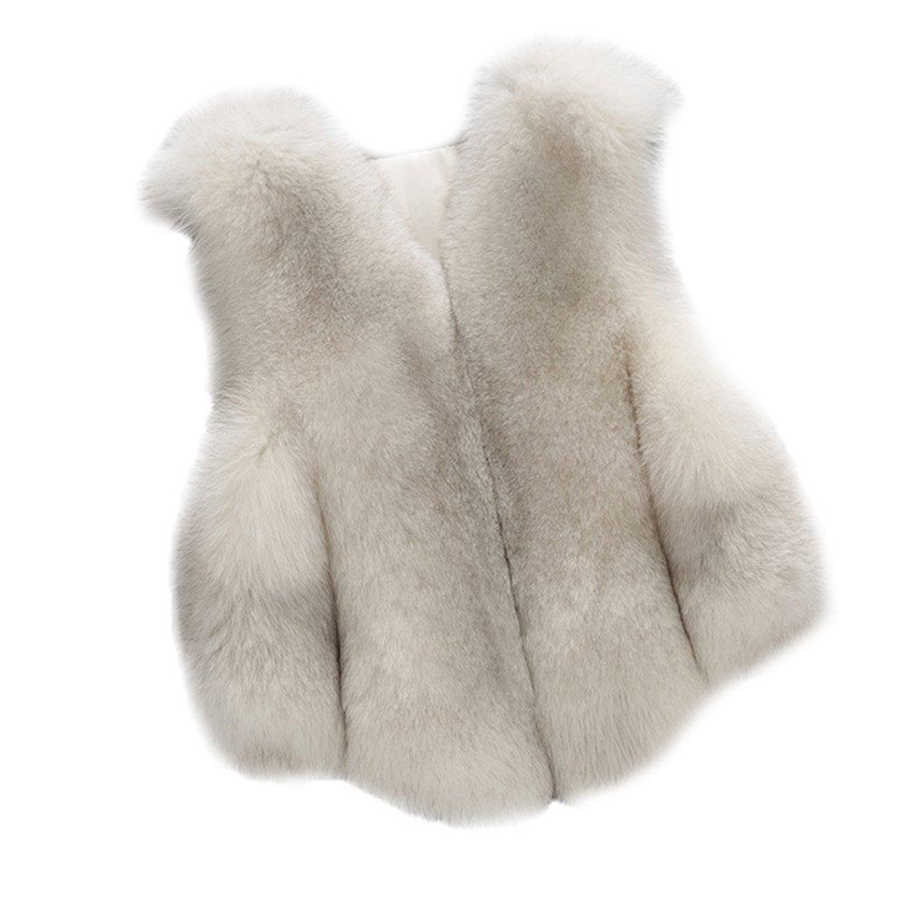 FOLOBE Kind Faux Fox Pelzmantel Jacke Weste hei/ßen Winter warme Gilet Kinder Outwear Kurze d/ünne Weste
