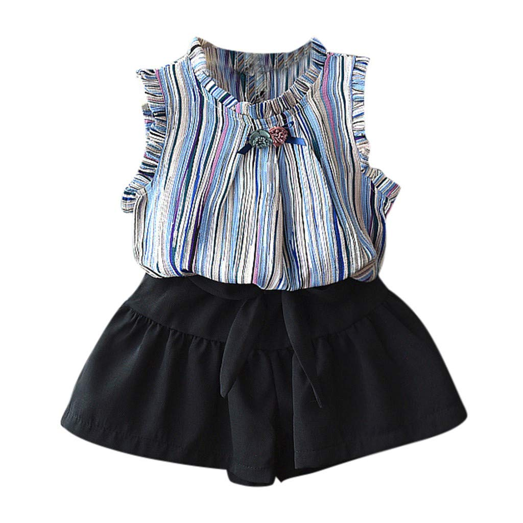 Easter Day Toddler Baby Girls Clothes Set 2-6 Years Old Kid Sleeveless Flowers Striped Tops T Shirt Shorts Outfit