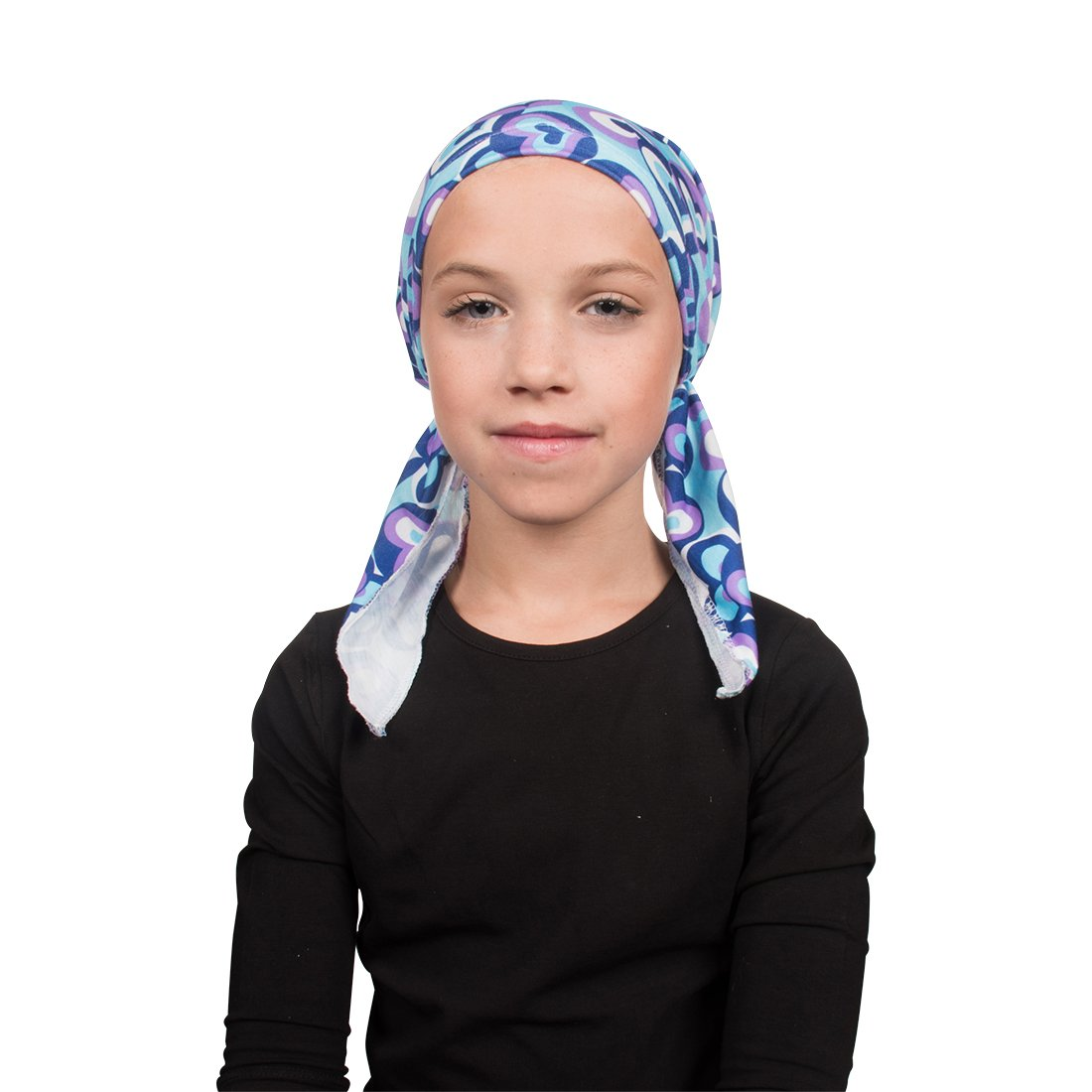 Chemo Cap Pretied for Girls Soft Cotton Cancer Scarf - Blue & Purple Hearts