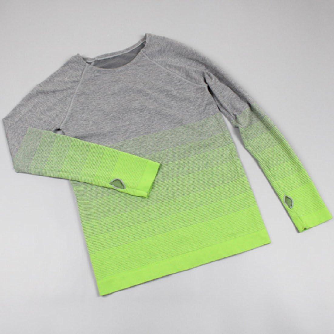 CHENMA Damen Workout T-Shirt Farbverlauf Schnell Trocknend Yoga Lauf Gym Sport T-Shirt mit Daumenl/öchern