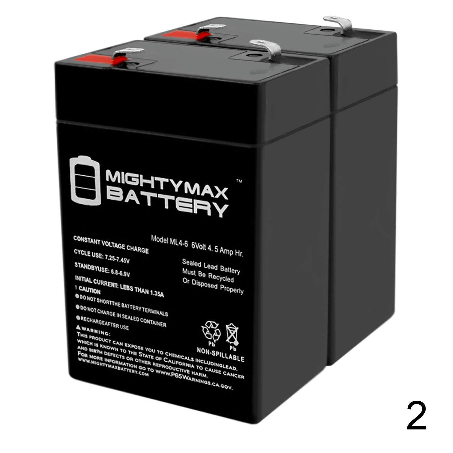 Mighty Max Battery ML4-6 - 6V 4.5AH Replacement Battery for YT-645 with F1 Terminal - 2 Pack Brand Product by Mighty Max Battery