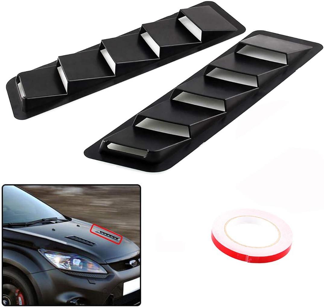 1 Pair Universal ABS Hood Vent Louver Air Cooling Panel Trim Set Auto Car Hoods Vents Bonnet Cover Carbon