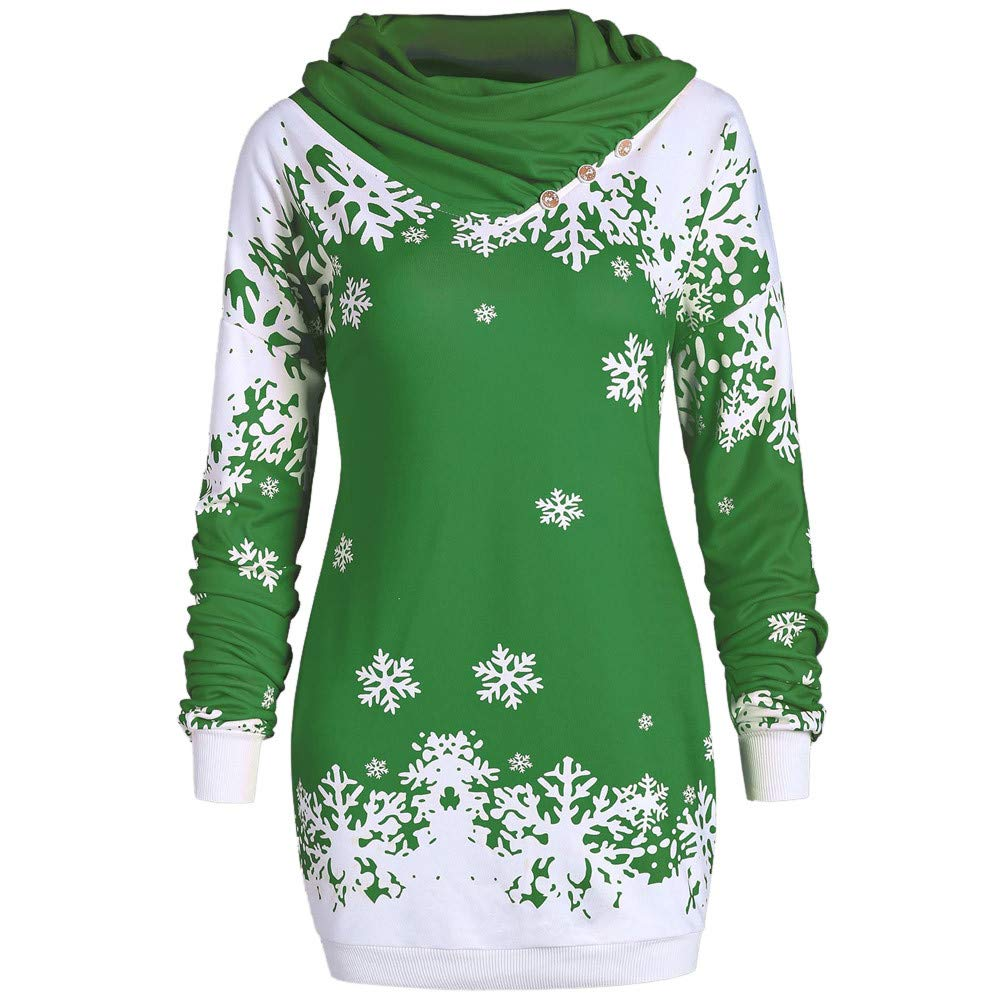 SADUORHAPPY Women Merry Christmas Snowflake Printed Tops Cowl Neck Sweatshirt Blouse Green by SADUORHAPPY Sweatshirts