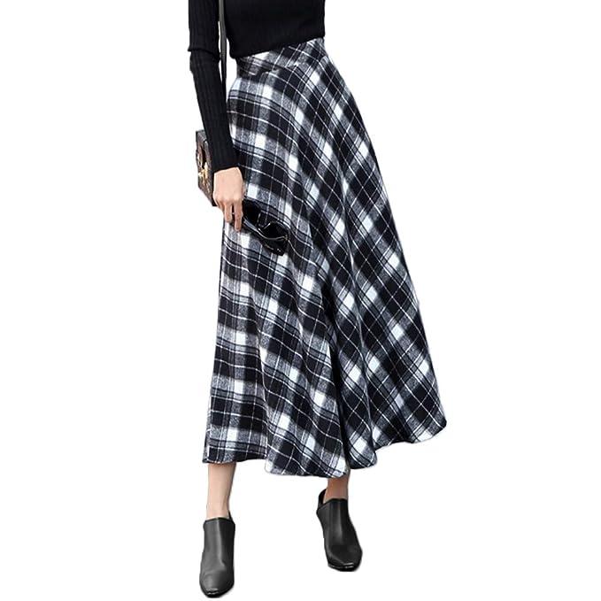 0549d14375 Nantersan Women's Plaid Woolen Skirts High Waist A-Line Flared Long Skirt  Fall Winter Pleated