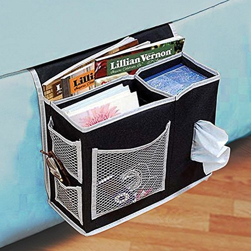 Tune Up 6 Pocket Bedside Storage, Mattress Book Remote Caddy (Black)