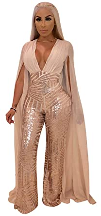 47ef54655bd8 Image Unavailable. Image not available for. Color  Hotheart Women s Long  Cape Sleeve Deep V Neck Sequins Bodycon Sexy Party Nightclub Jumpsuit  Rompers