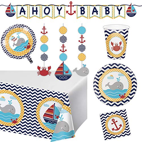 Ahoy Nautical Party Supplies Baby Shower Decorations for 16 Guests - Table Cover, Balloon, Baby Shower Banner, Plates, Matey Napkins and Hanging Cutouts Set ()
