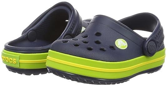 ed35d7632d011 Crocs Unisex Kids  Crocband K Navy Vgrn Clogs  Amazon.co.uk  Shoes   Bags