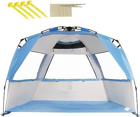 Ombrelloni Da Spiaggia Grandi.Zomake Tenda Da Spiaggia Tenda Facile Da Installare Con Protezione Uv Per 2 4 Persone Argento Bianco Blu Amazon It Sport E Tempo Libero