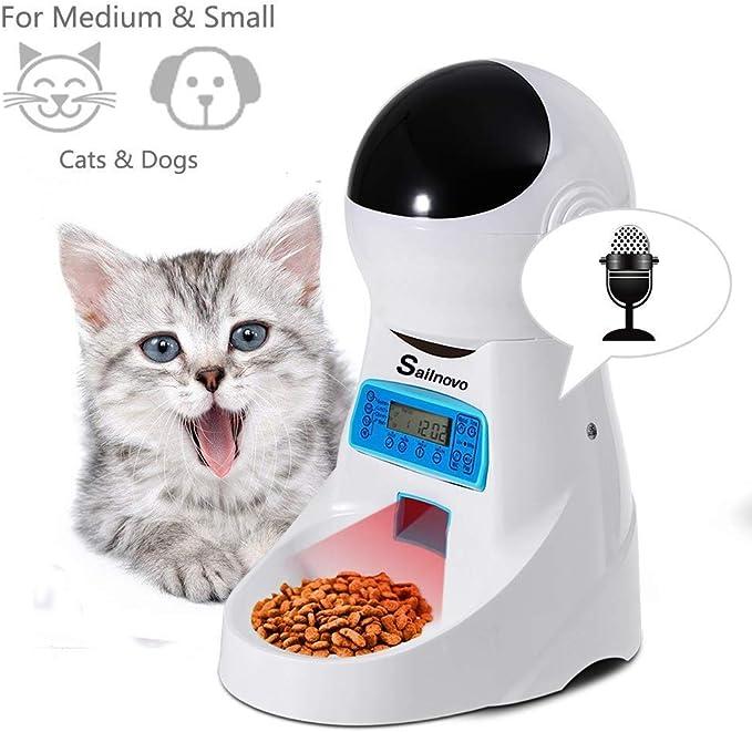 Sailnovo Dispensador Automático 4L de 4 Comidas Diarias para Mascotas Perros y Gatos
