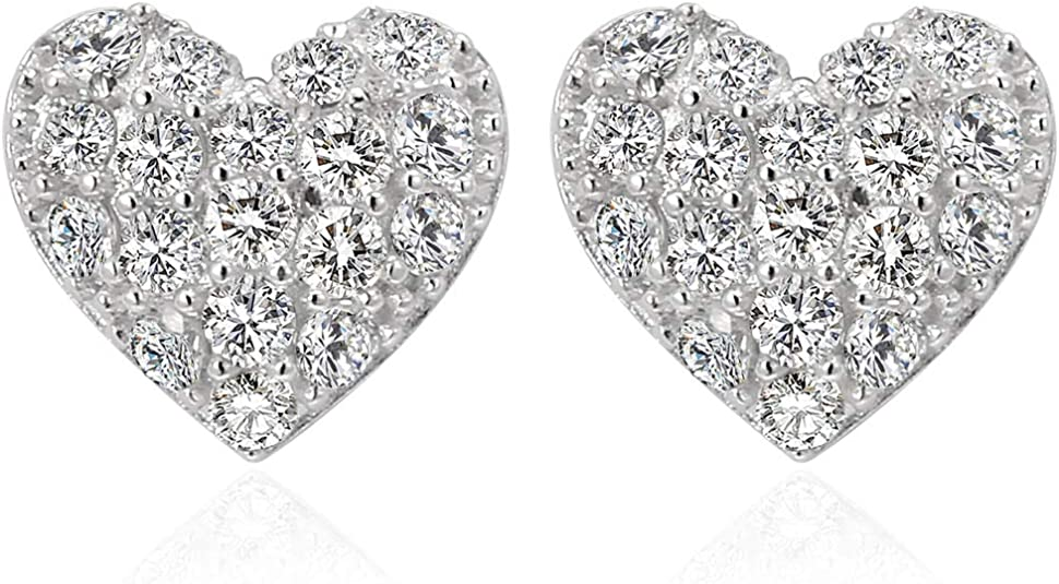 Heart Stud Earrings 925 Sterling Silver Cubic Zirconia Love Heart Ear Studs WAS £14.99 NOW £10.49 w/code ZC429S36 @ Amazon