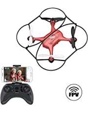 ATOYX AT-96 Drone HD Camera, RC Mini Drone, 3D Flips, Headless Mode with 2.4Ghz FPV WiFi APP, Altitude Hold and One Key Take Off/Landing, Gifts for Kids(Red)