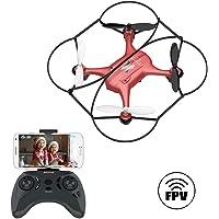 ATOYX AT-96 Drone Cámara HD, RC Mini Drone, 3D Flips, Modo sin Cabeza con APP WiFi FPV 2.4Ghz, Altitud Hold, Una Tecla de Despegue y Aterrizaje de Gravedad, Regalos de Navidad o Año Nuevo, Rojo