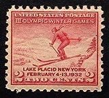 III Olympic Winter Games, Lake Placid New York, Feb 4-13, 1932, USA -Handmade Framed Postage Stamp Art 22353AM