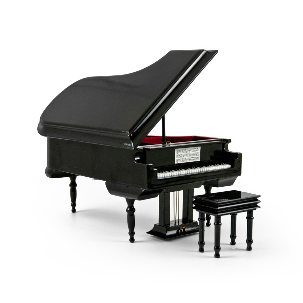 Sophisticated 18 Note Miniature Musical Hi-Gloss Black Grand Piano With Bench - When I Fell in Love - SWISS