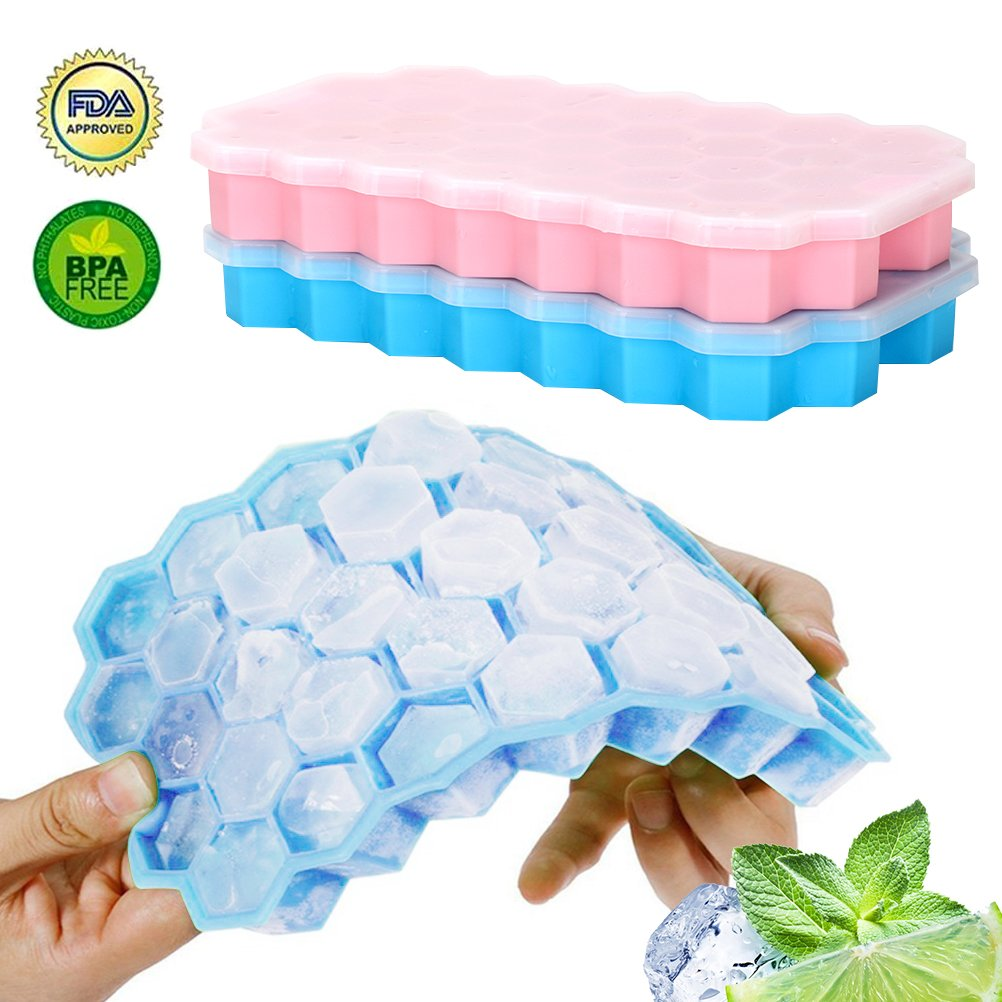 YORLFE Silicone Ice Cube Trays 2 Pack -Easy-Release and Flexible Ice Trays with Spill-Resistant Removable Lid, LFGB Certified and BPA Free, Stackable Durable and Dishwasher Safe