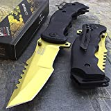 9″ MTECH USA TANTO GOLD SPRING ASSISTED TACTICAL FOLDING KNIFE Blade Pocket Open For Sale