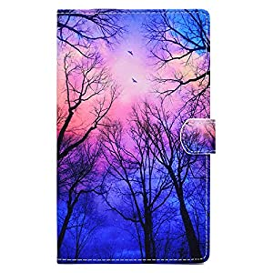 Kindle Fire HD 8 Case,LittleMax PU Leather Case Flip Stand Protective Auto Wake / Sleep Cover for Amazon Kindle Fire HD 8 7th Gen 2017 Release & 6th Gen 2016 Release with Free Stylus-01 Night Forest