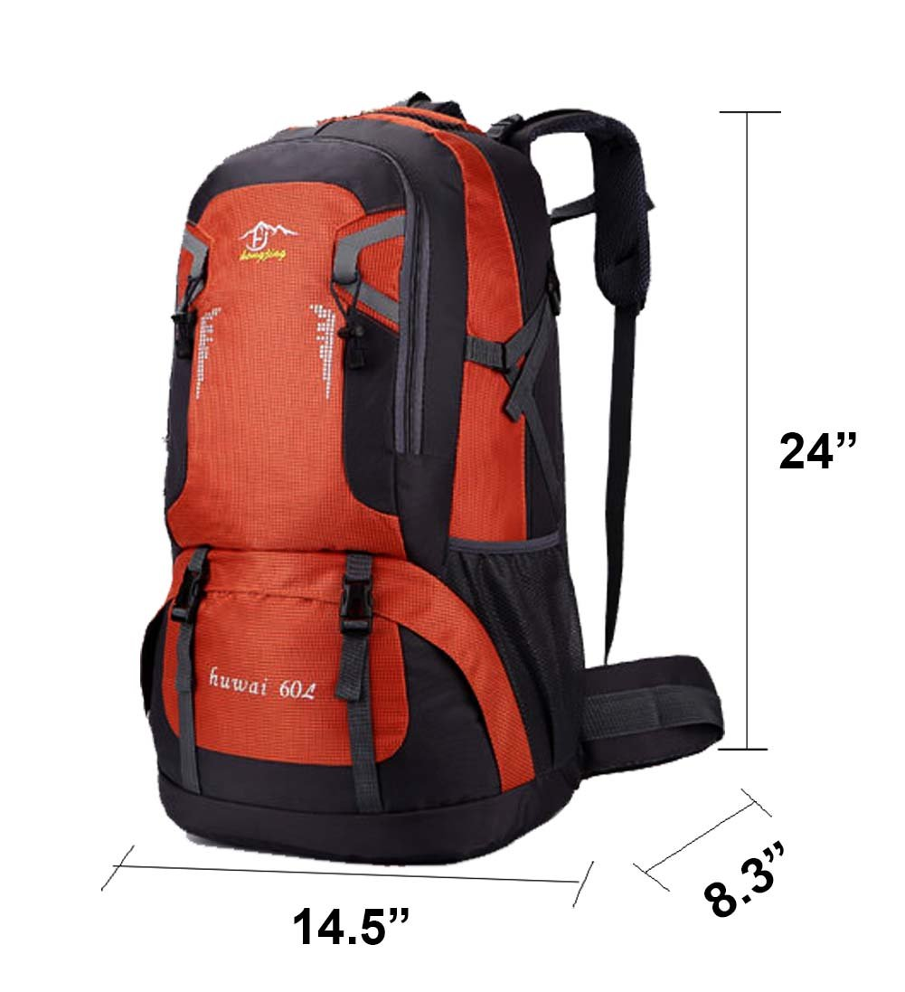 Hiking Backpack 60L - Camgo Outdoor Sport Backpacking Bag for Climbing Mountaineering Camping Trekking Travel (Orange)