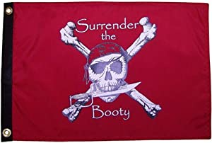 Flappin' Flags Pirate Surrender Booty Outdoor Garden Flag 12X18in Red