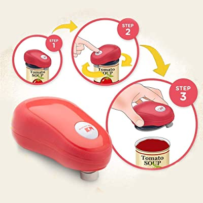 Buy Kitchen Mama One Touch Can Opener Open Cans With Simple Press Of A Button Auto Stop As Task Completes Ergonomic Smooth Edge Food Safe Battery Operated Can Opener Electric Can Opener
