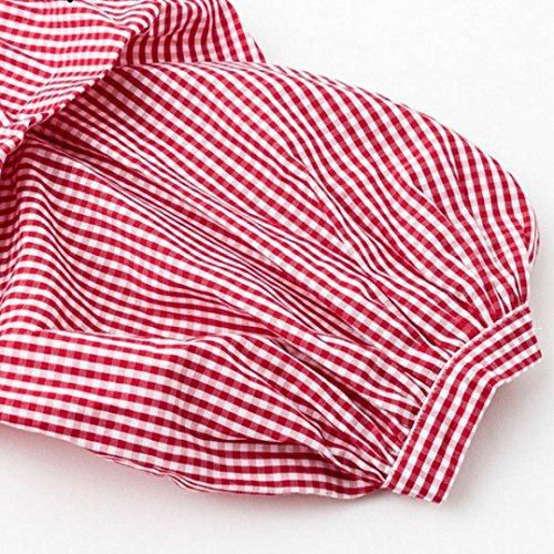 3edd6c7280c5 vermers Clearance Women Button Down Shirts - Women Casual Long Sleeve  Lantern Sleeve Plaid Loose Tops