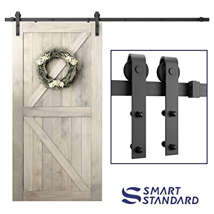 SmartStandard 8ft Heavy Duty Sliding Barn Door Hardware Kit - Smoothly and  Quietly - Simple and Easy to install - Includes Step-By-Step Installation