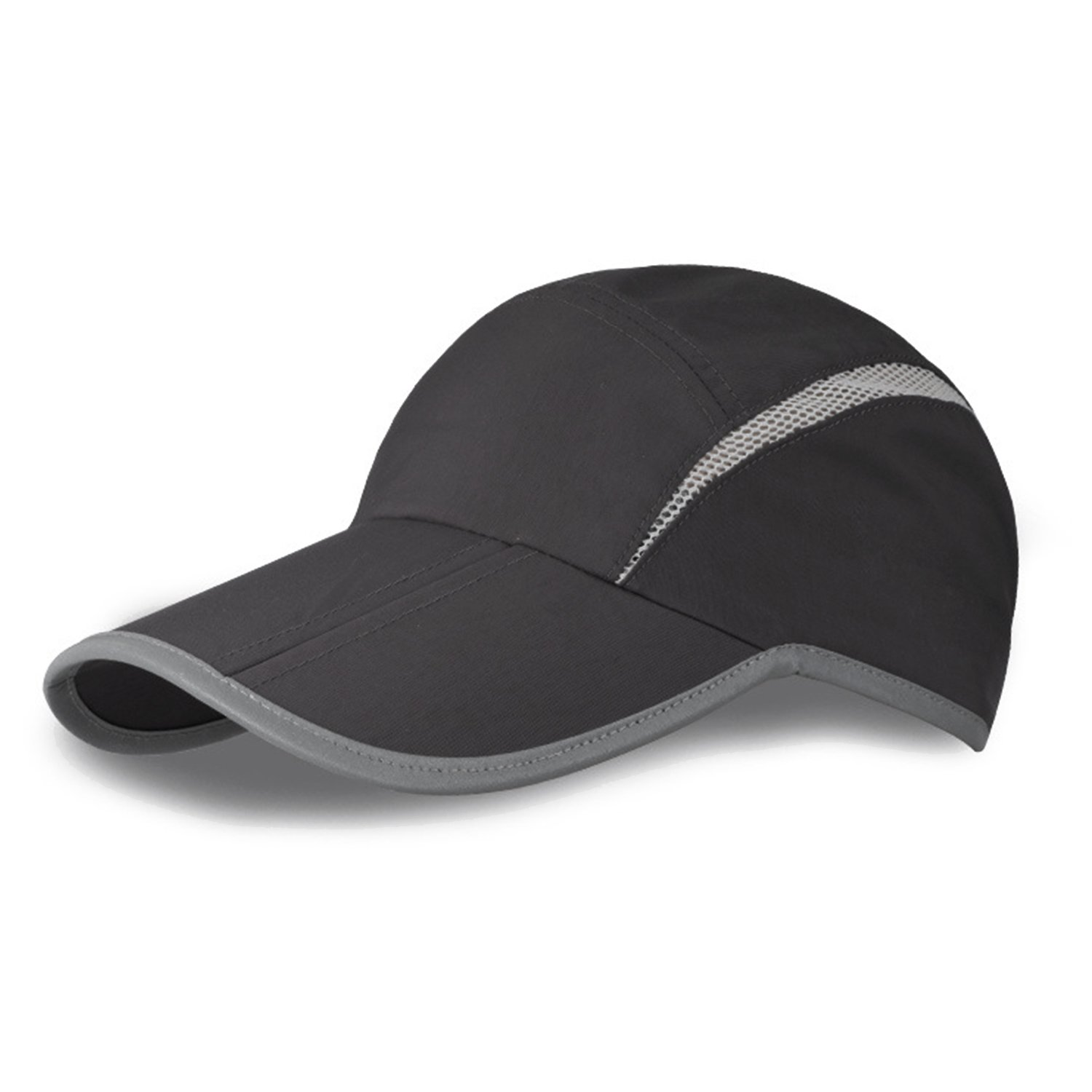 MerryJuly Baseball Cap Quick Dry Sun Hats UPF50+ Portable Travel Hats for Sports Golf Running Fishing Outdoor Research with Foldable Long Large Bill (Dark Grey)