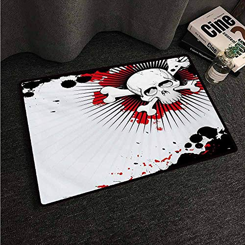 HCCJLCKS Interior Door mat Halloween Skull with Crossed Bones Over Grunge Background Evil Scary Horror Graphic All Season General W31 xL47 Pearl Red Black -