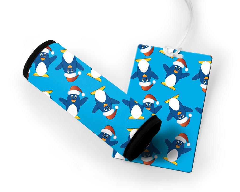 Little Funny Penguins Luggage Tag /& Luggage Finder Wrap Set TAGLUGANI114
