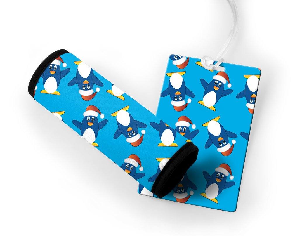 Little Funny Penguins Luggage Tag & Luggage Finder Wrap Set