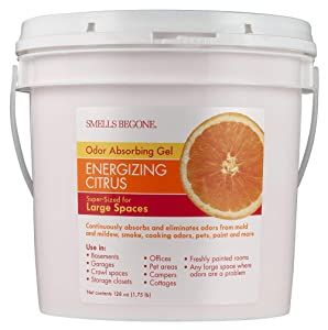 Smells Begone Odor Absorber Gel Solid - Air Freshener - Industrial Size - Non-Toxic - Original Scent (1 Gallon) (1 Gallon, Energizing Citrus)