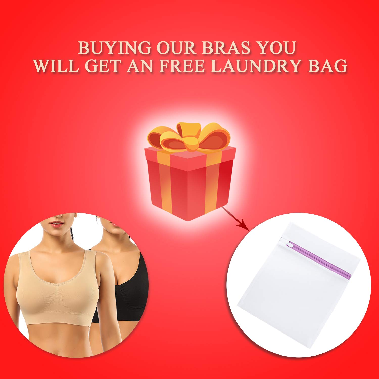 Giving Laundry Bag Sports Bras for Women,BESTENA Seamless Comfortable Everyday Bra Yoga Bra Plus Size with Removable Pads