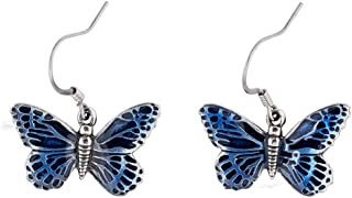 product image for DANFORTH - Butterfly/Blue Earrings - 5/8 Inch - Pewter - Surgical Steel Wires - Handcrafted - Made in USA